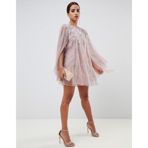asos mini dress with heavily embellished cape